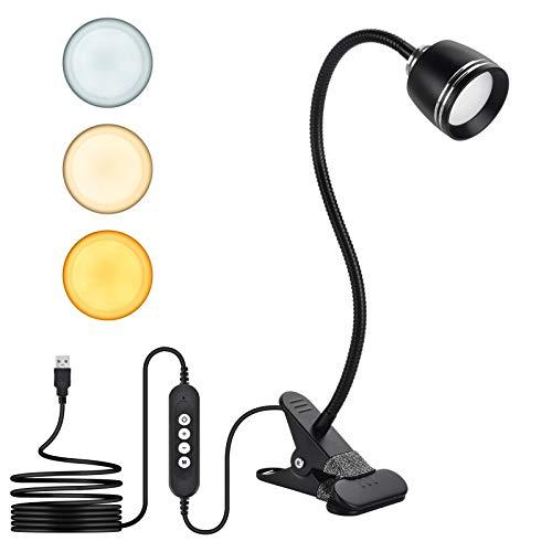 Lámpara de Escritorio LED, KEEHOM Lámpara de Mesa USB con Pinza, 3 Modos de Luz y 10 Niveles de Brillo, Cuello Flexible Ajustable, Luz de Lectura con Protección Ocular y Ahorro de Energía (7)
