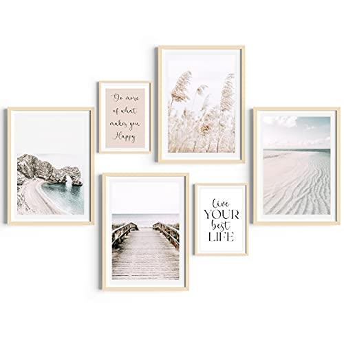 Láminas Decorativas Pared. Set de Laminas para enmarcar. Conjunto de 6 láminas para Cuadros decoración salón Moderno (4 láminas DIN A3 / 2 DIN A4) Sin Marco, Reversibles.