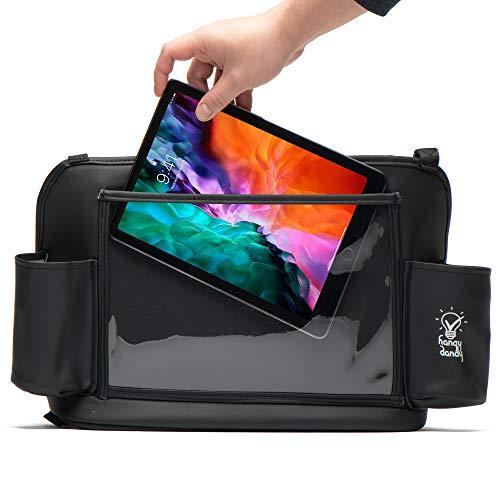 Hangy Dandy  Car Net Pocket Handbag Holder and Multipurpose Organizer | Premium Quality Leather | Backseat Tablet Holder | Cups Holder | Car Backseat Barrier for Pets amp Children