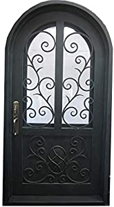 MCM3 Single Wrought Iron Entry Door,Aged Copper Patina,:8.34FtX4.34Ft