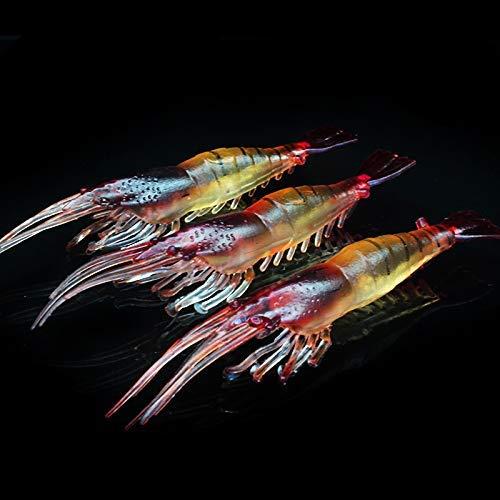 OriGlam 10-teiliges Set aus weichen Garnelenködern, weiche Garnelenköder, Angelköder, Garnelenköder, ideal für Forellen, Barsch, Lachs, Süß- und Salzwasser