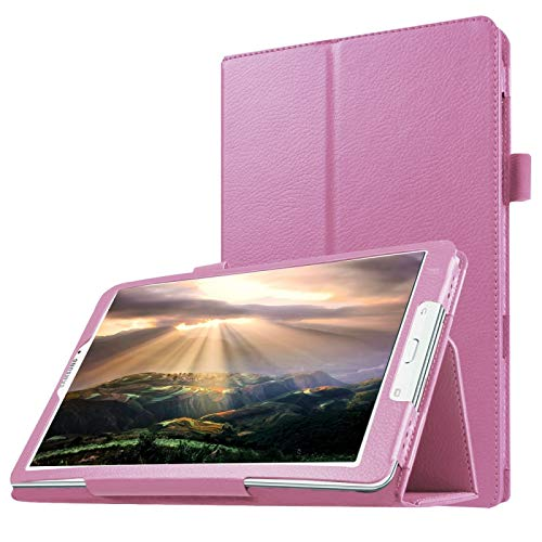 WEI RONGHUA Tablet Cases Litchi Texture Horizontal Flip Solid Color Leather Case with Holder for Galaxy Tab E 8.0 / T377V accessories (Color : Pink)