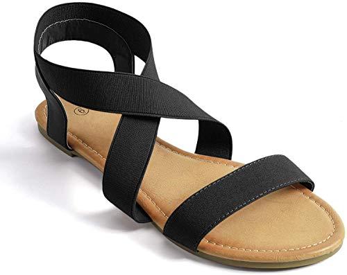 Soles & Souls Elastic Ankle Strap Sandals for Women Flat,Black 9