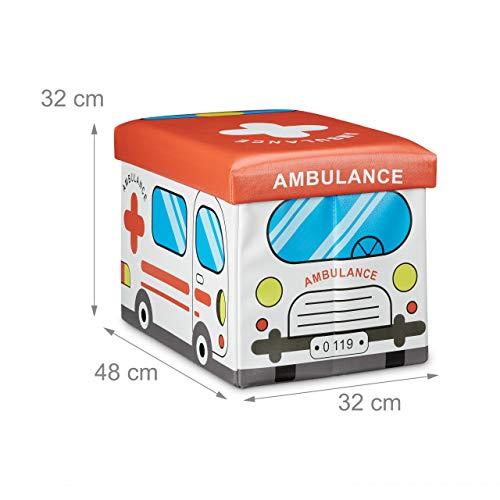 """Relaxdays faltbare Spielzeugtruhe mit Sitzpolster """"Krankenwagen"""", 48x32x32cm - 4"""