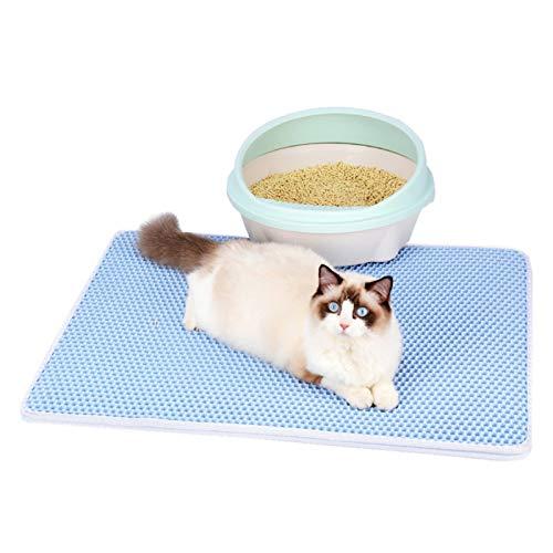 2PET - Alfombra de arena doble capa para gatos, diseño de gatos, nido de abeja EVA para gatos, impermeable y antideslizante, alfombra de arena para gatos