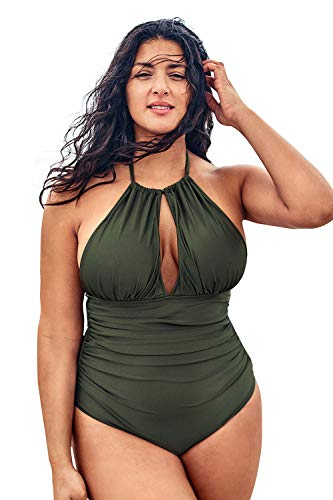 CUPSHE Women's Plus Size One Piece Swimsuit Green Halter Shirring Bikini, 1X