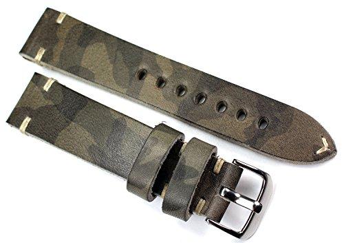 RIOS 1931 20mm Herren Kalbsleder Uhrenarmband Vintage Militär Infanterie grau Camouflage