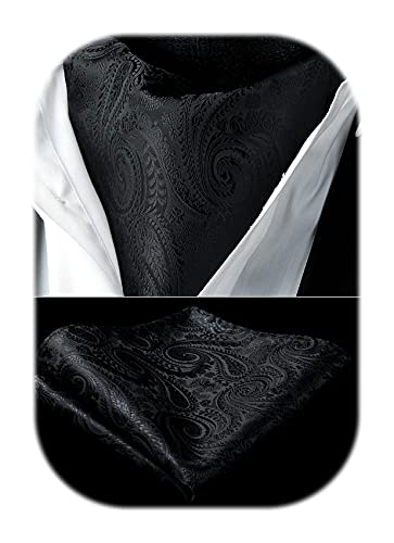 HISDERN Herren Krawattenschal Paisley Jacquard Woven Taschentuch Hochzeit Ascot Krawatte Set Seide Halstuch schwarz
