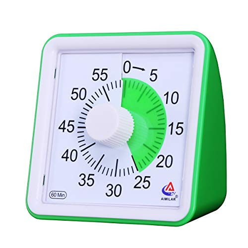 AIMILAR 60 Minute Visual Timer - Silent Timer Time Management Tool for Classroom or Meeting Countdown Clock for Kids and Adults (Green)