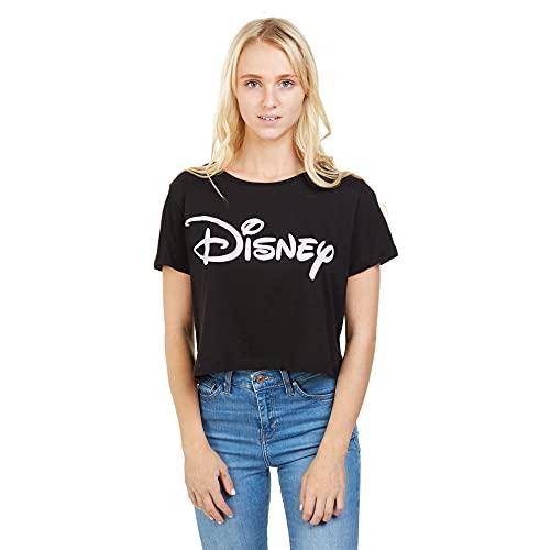 Disney Plain Logo Cropped Top T-Shirt, Noir (Black blk), M Femme
