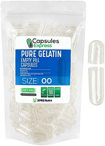 XPRS Nutra Size 00 Empty Capsules Clear Empty Gelatin Capsules Capsules Express Empty Pill Capsules product image