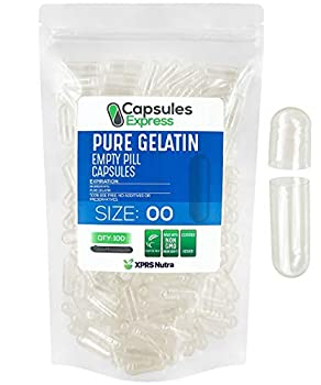 XPRS Nutra Size 00 Empty Capsules - Clear Empty Gelatin Capsules - Capsules Express Empty Pill Capsules - DIY Capsule Filling - Fillable Bovine Pill Capsules Empty Gel Caps Pills  100