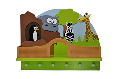 Flophi Kindergarderobe mit Mützenablage Motiv Zoo