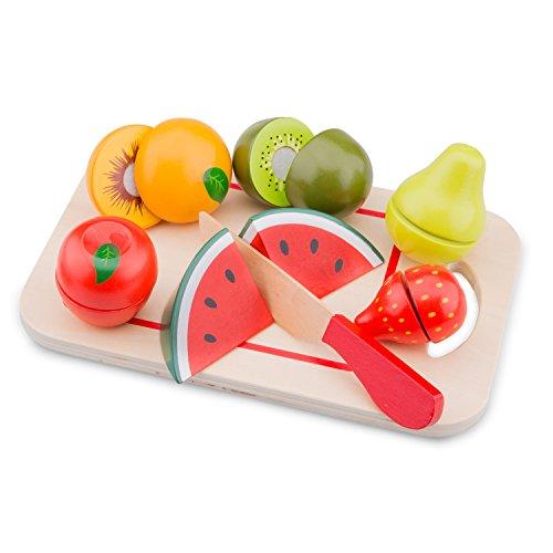 New Classic Toys Ensemble de fruits en bois pour la coupe Jeu d'Imitation Éducative pour Enfants
