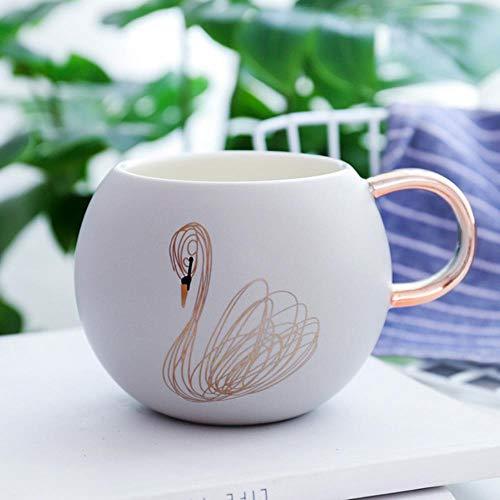 Gbcyp Creative Gold Swan koffiemok van keramiek, sapbeker voor drinken, koffie, melk, theekop