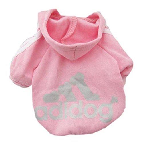 Techrace Adidog HundeKleidung Warm Hoodies Mantel Hundejacke Hündchen Pullover Mantel Haustier Welpen T-Shirt - Rosa, S