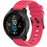 Compatible with Garmin Fenix 6 Pro Watch Bands, Forerunner 945 Bands, 22mm Quickfit Silicone Replacement Band Straps Wristband Bracelet Fit for Garmin Instinct, Fenix 5 Plus (Hot Pink)
