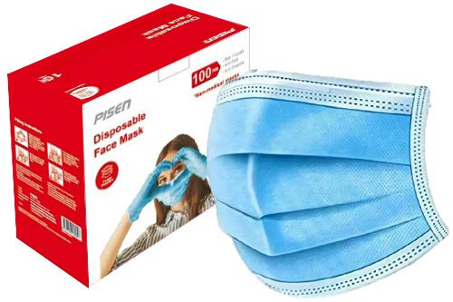 PISEN 100pcs Disposable Face Masks Non-Medical Ship from Canada, Fast Delivery