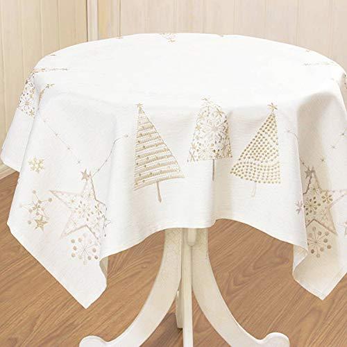 テーブルクロスクリスマス刺しゅうツリー約85×85cm(ベージュ)