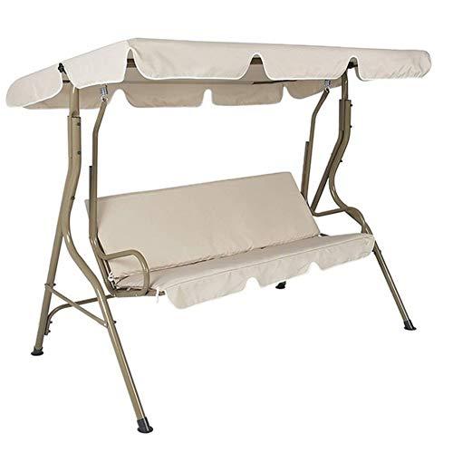 Sombrilla paraguas 2 unids/set para 3 plazas Oxford tela cubierta de asiento oscilante impermeable piezas de repuesto protector sólido decoración exterior (color: beige 164 x 114 x 15 cm)