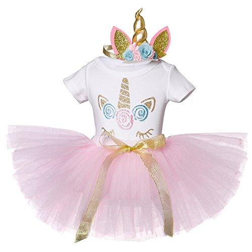 NNJXD Unicornio Arco iris Tutú Primer Cumpleaños Trajes de 3 piezas Mameluco + Falda + Diadema de oro Tamaño (1) 1 año rosa