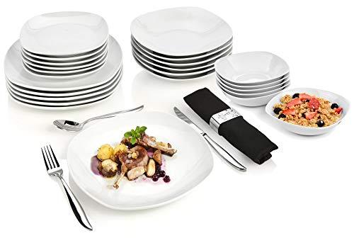 Sänger Tafelservice Bilgola 24 teilig aus Porzellan - Geschirrservice für 6 Personen - Geschirrset beinhaltet 6 Speise-, Suppen- und Dessertteller sowie 6 Schalen
