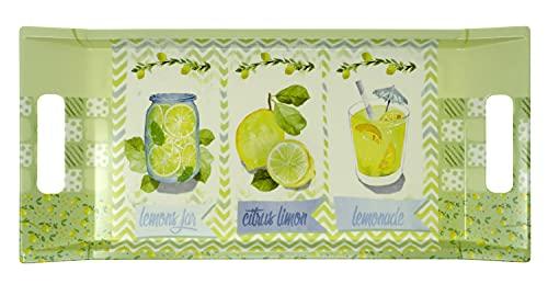Lashuma Bandeja para café de melamina de tamaño mediano, color amarillo y verde, diseño: limón, tamaño de la bandeja: 41 x 19 cm