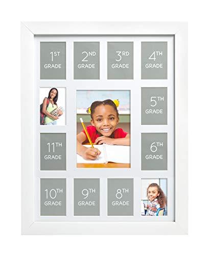 Kate & Milo K - 12 School Picture Frame, Year by Year School Keepsake, Student Memories, White