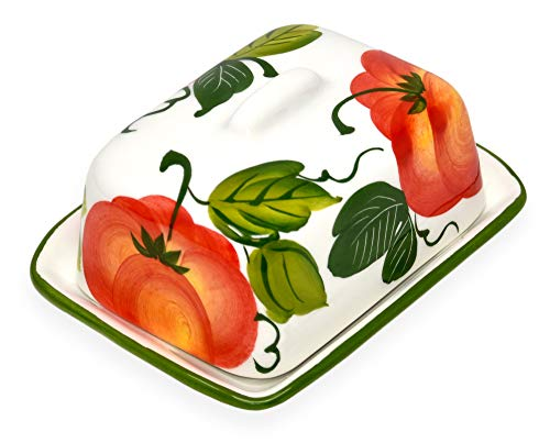Lashuma Handgemachte Kleine Butterdose Tomate Bemalt, aus Italienischer Keramik, Butterglocke Größe: 12 x 9 cm