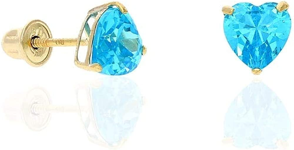 14K Yellow Gold Created Birthstone Heart Screw Back Stud Earrings 5mm