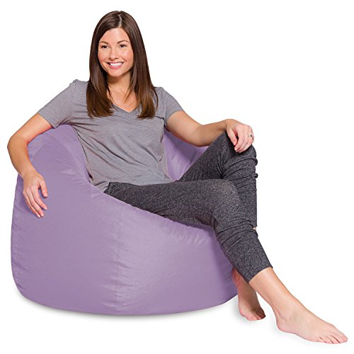 Posh Beanbags Big Comfy Bean Bag Posh Large Beanbag Chairs with Removable Cover for Kids, Teens and Adults Polyester Cloth Puff Sack Lounger Furniture for All Ages, 35in, Heather Lavender