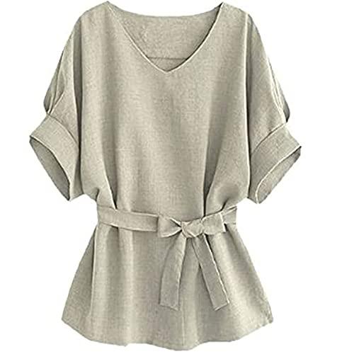 Camisa Mujer Escote En V Color Sólido Arco Cinturón Mujer Camisa All-Match Ocio Temperamento Personalidad Moda Desplazamientos Verano Manga Murciélago Mujer Tops B-Gray 4XL