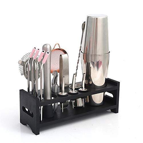 Gyubay Práctico Juego de Coctelera 15 Piezas Kit de preparación de cócteles Coctelera Conjunto Diseño Ligero (Color : Silver, Size : M)