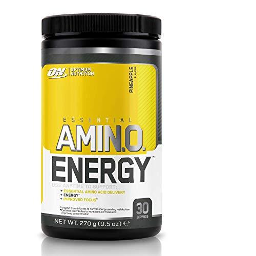 Optimum Nutrition ON Amino Energy Pre Workout Powder Keto Friendly con Beta Alanina, Cafeína, Vitamina C, Aminoacidos Micronizados Incluyendo BCAA, Piña, 30 Porciones, 270 gr