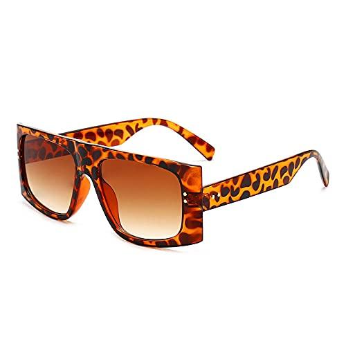 XDOUBAO Gafas Gafas de sol Masculinas Personalidad Retro Gafas de sol Gafas de sol Damas Square Gafas de sol-Figura_Marco de leopardo té gradual