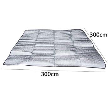 Sanniya Tapis de Couverture de Pique-Nique (300x300 cm), Coussin de Couchage en Aluminium Pliable Imperméable portatif d'Eva pour Le Camping Yoga pelouse Tapis Coussin étanche à l'humidité