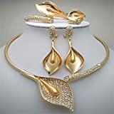Nigerian Wedding African Beads Zinc Alloy Jewelry Sets Dubai Jewelry Sets Necklace Bracelet Earrings Ring Sets WHITE Gold-color