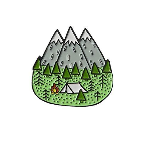 JWGD Esmalte al Aire Libre Montaña Noche Estrellada Pin Personalizado Salvaje Que acampa yendo de Las broches de Ropa Bolsa Pin de la Solapa Aventura Regalo de la joyería Insignia (Color : Camping)