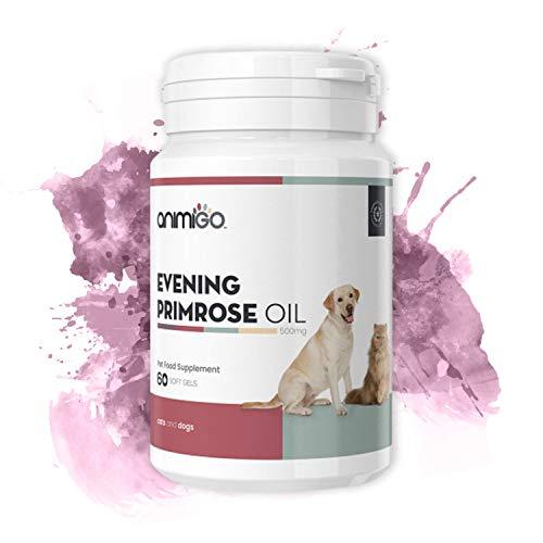 Animigo Aceite de Onagra para Perros y Gatos   Suplemento de Onagra en Cápsulas   con Ácido Linoleico (LA) y Gamma (GLA)   para Piel, Pelaje, Balance Hormonal, Huesos y Articulaciones   60 Cápsulas