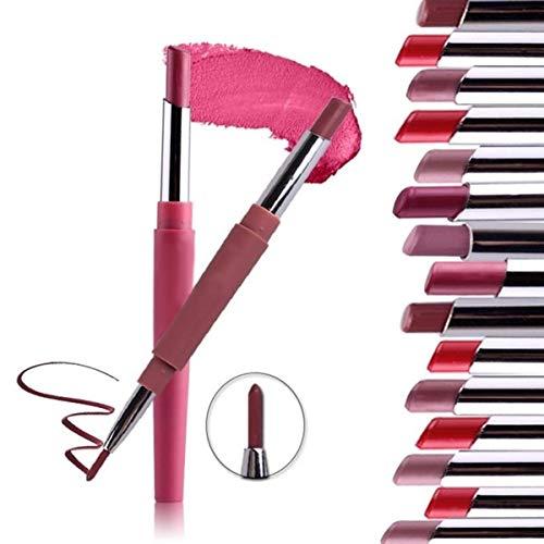 Ruiqas 2-en-1 Double Bout de Charme Durable 14 Crayon de Couleur Rouge à lèvres Stylo avec Crayon à lèvres Maquillage Outil de beauté cosmétique (Color : 43)