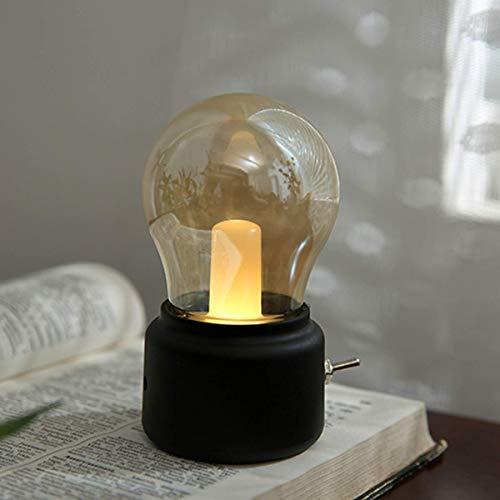 Lámpara de noche retro USB recargable, lámpara LED de mesa Night Light Mini lámpara de escritorio para la habitación de la casa o la oficina, color negro