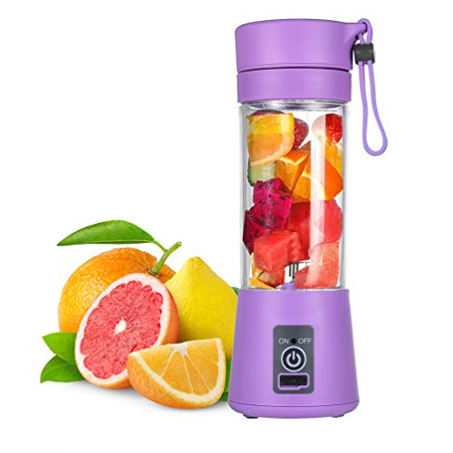 SASKATE Batidora personal multifuncional, licuadora portátil, licuadora de frutas, exprimidor de frutas, recargable por USB, con 2 cuchillas afiladas para cocina, camping, viajes morado