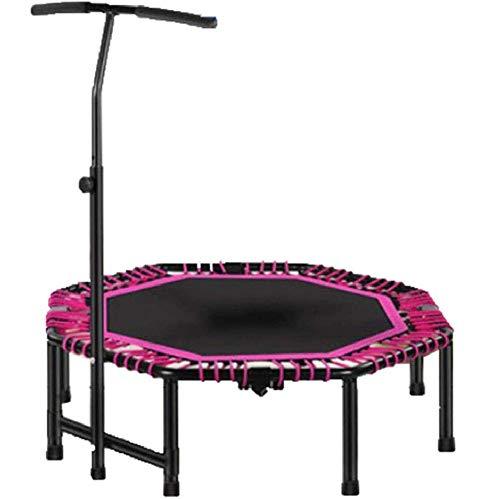 KAIGE 48 inch Indoor Mini Trampolino Fitness con Regolabile corrimano Pieghevole Fitness Bouncer for Bambini e Adulti, for Interno/Esterno/Giardino/Yoga/Esercizio WKY (Color : Pink)