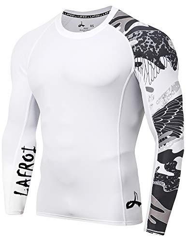 Lafroi - Camiseta térmica de licra, de compresión, para hombre, de manga larga, con protección UPF 50+, ajustada, modelo CLYYB, Hombre, GB-CLYYB_Bt-C-Asym Trace-MD, Rastro asimétrico, M