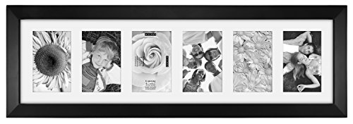 Malden 4x6 6Opening Collage Matted Picture Frame, Displays Six, Black