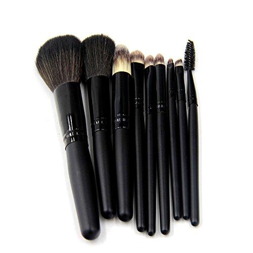 LEXUPE 9pcs Pro pinceaux de Maquillage Fard à paupières Ombre à paupières Base de mélange de Pinceau(Noir,34)