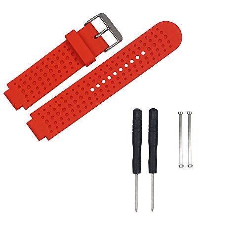 KOMI Correa de repuesto compatible con Garmin Forerunner 230/235/220/620/630/735, correa de silicona deportiva con herramienta de extracción (rojo)