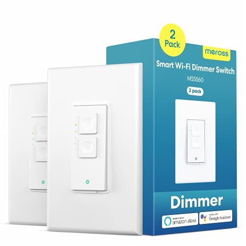 Smart Dimmer Switch, 2 Packs Light Switches for Dimmable LED Light, Halogen and Incandescent Bulb, Supports Alexa, Google Assistant and SmartThings, Single-Pole Switch with Voice Control and Schedule