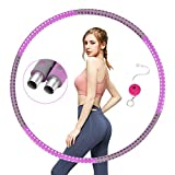 Fitness Hula Hoop for Adults, Galvanized Steel Tube Folding Fitness Weighted Hula Hoops 6 Section Detachable Foam Padded Exercise Hula Ring Gift for Kids Ladies Loose Weight, Free Ruler Weight Plug