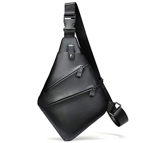 Soft Genuine Leather Shoulder Sling Bag One-Strap Slim Travel Crossbody Purse for Men or Women Black